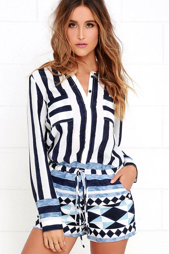 222676afa0db Cute Blue Striped Romper - Long Sleeve Romper -  49.00