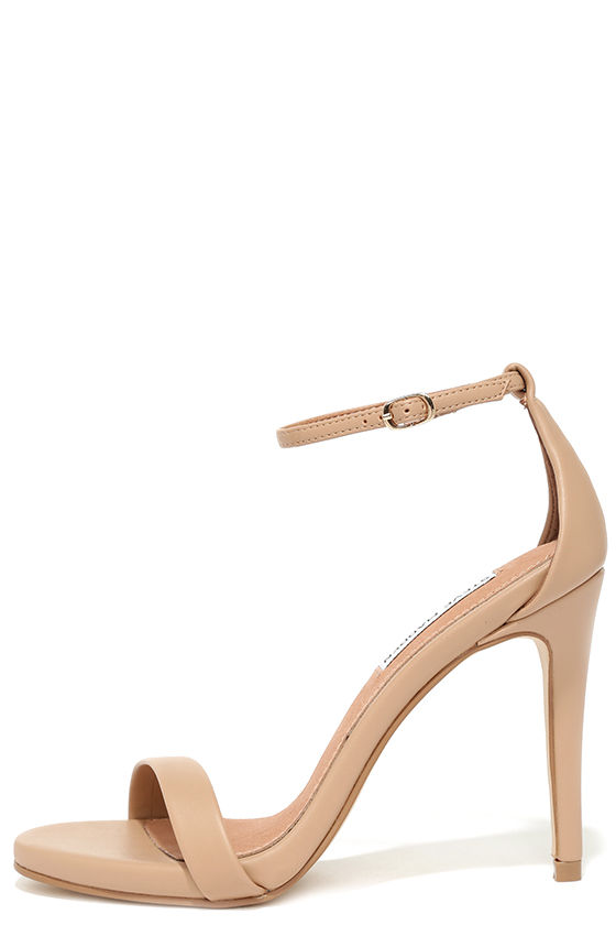 Nude Heels - Ankle Strap Heels - Single Sole Heels - $79.00