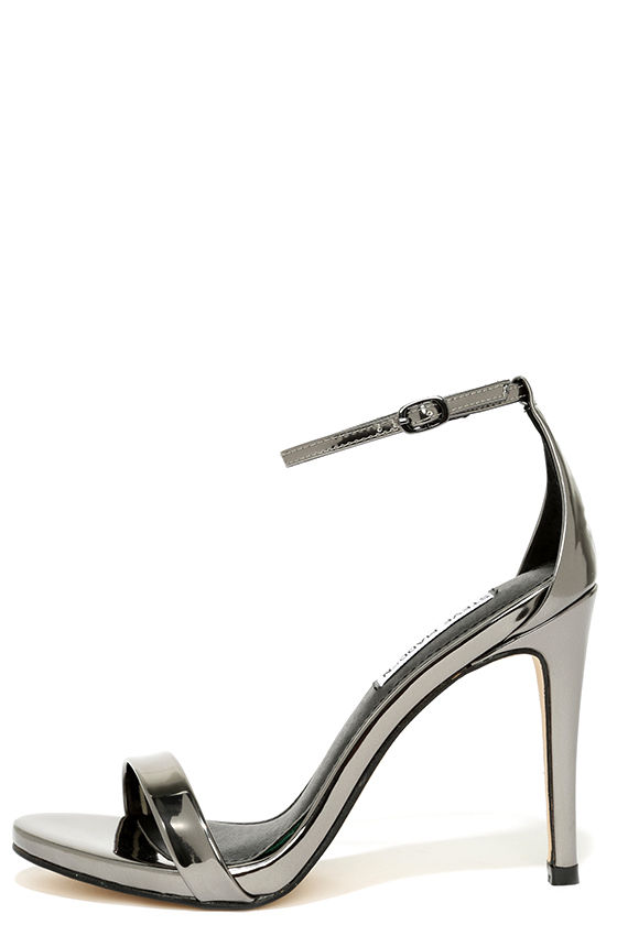 1de7908ec0ab Pewter Heels - Ankle Strap Heels - Single Sole Heels -  79.00