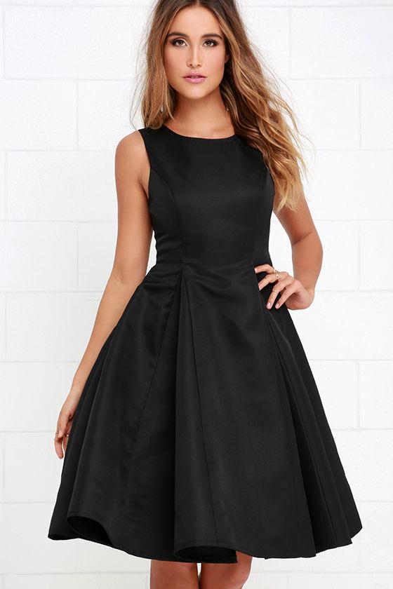 Classic Black Dress - Midi Dress - Pleated Dress - $59.00