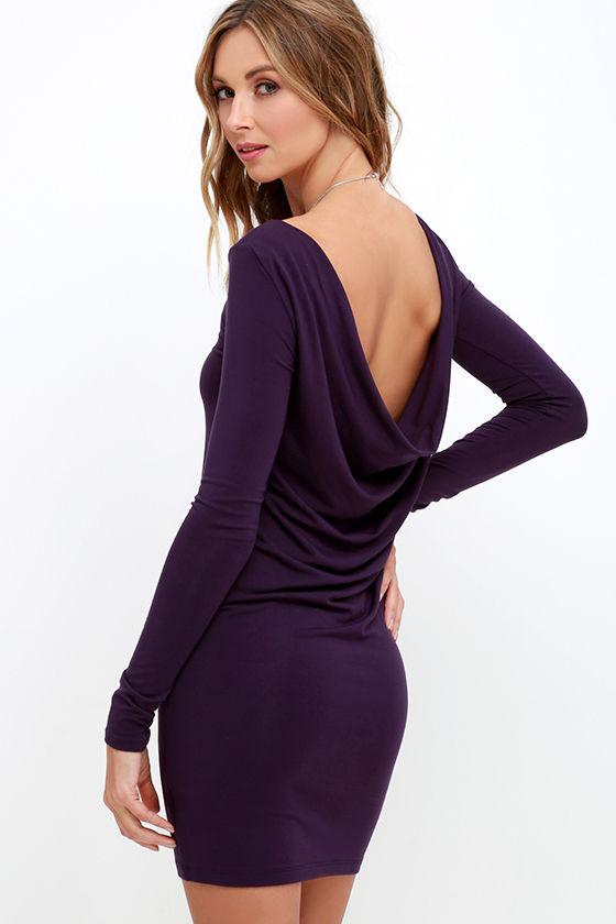 Sexy Purple Dress - Long Sleeve Dress - Backless Dress - $34.00
