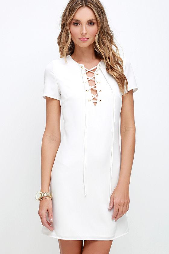 578fdcf757e Sexy Ivory Dress - Lace-Up Dress - Shift Dress -  54.00