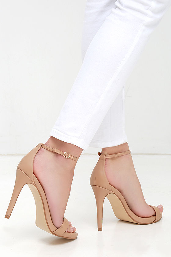 6bf081f108 Nude Heels - Ankle Strap Heels - Single Sole Heels - $79.00