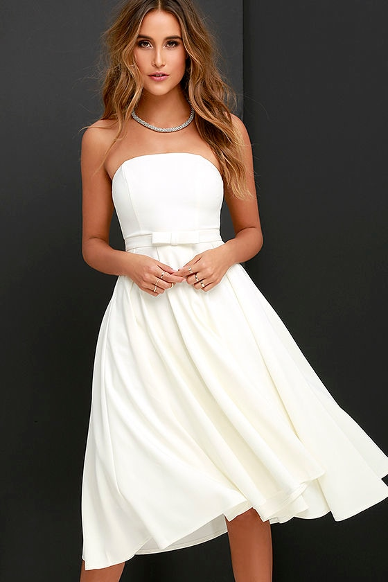 Lovely Ivory Dress - Midi Dress - Strapless Dress - Tulle Dress ...