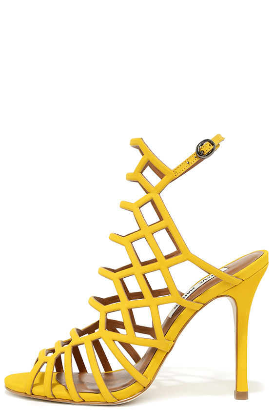 278cc6cfd69a Steve Madden Slithur - Yellow Caged Heels - Leather Heels -  109.00