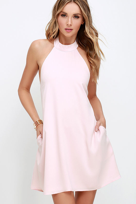 Chic Light Pink Dress Halter Trapeze