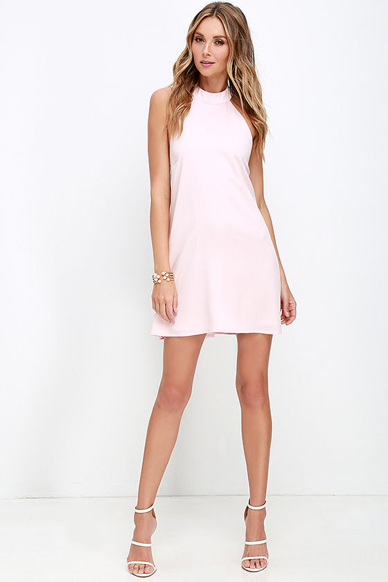 Chic Light Pink Dress - Halter Dress - Trapeze Dress - $58.00
