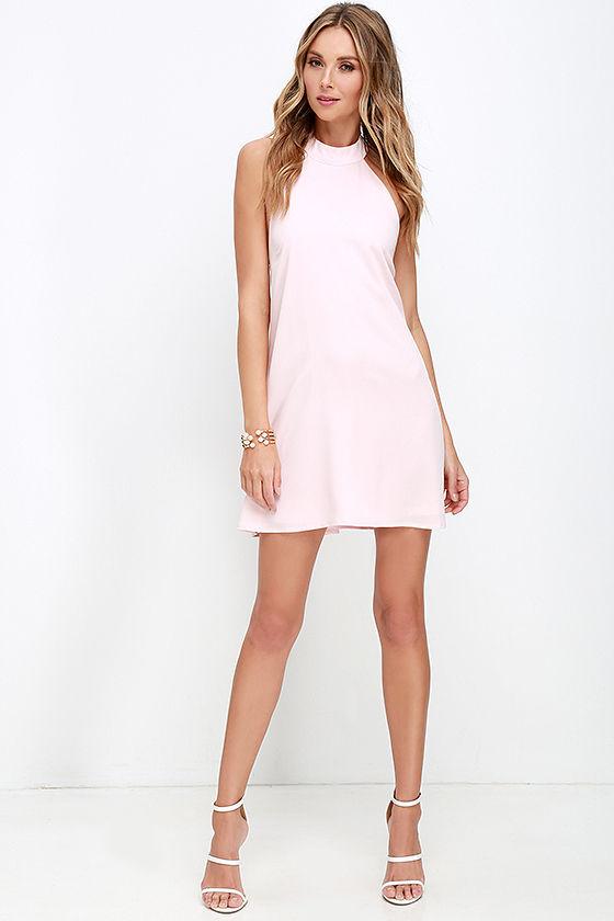 cdd39853cbe2 Chic Light Pink Dress - Halter Dress - Trapeze Dress -  58.00