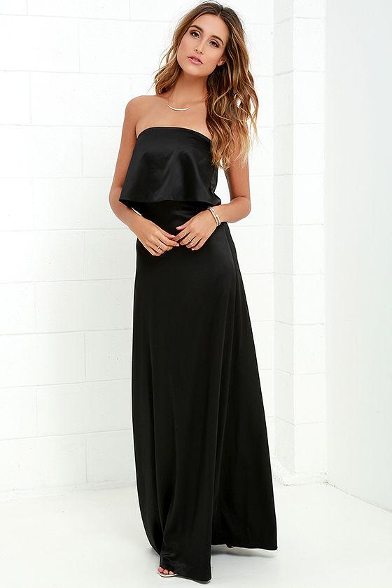 Long black satin strapless dress