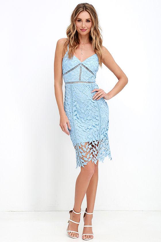 d5b94fd0a20 Sexy Light Blue Dress - Lace Dress - Midi Dress -  58.00