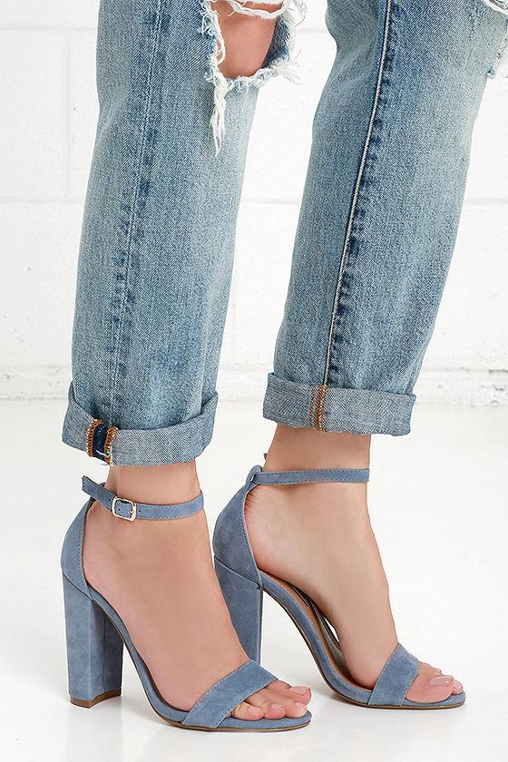 67405e56cfd Cute Blue Heels - Suede Heels - Ankle Strap Heels -  89.00
