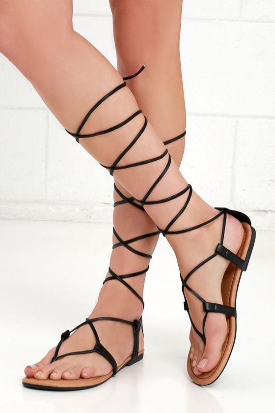 60d36973c52a Cute Black Thong Sandals - Leg Wrap Sandals - Flat Sandals
