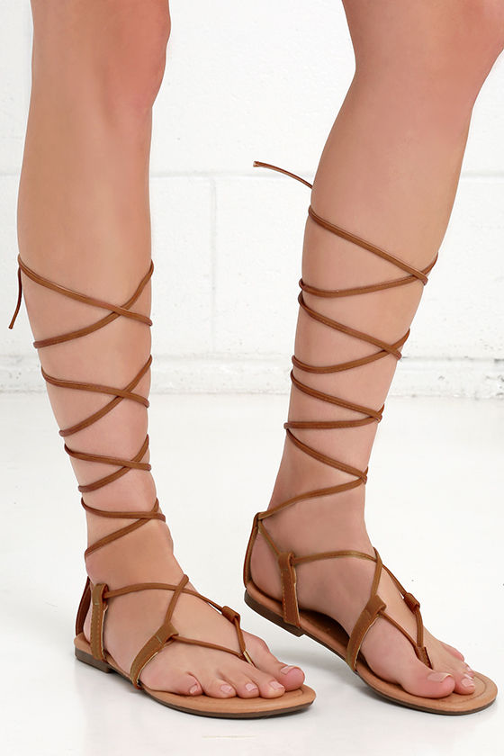 9bb06ef15208 Cute Brown Sandals - Leg Wrap Sandals - Flat Sandals -  17.00