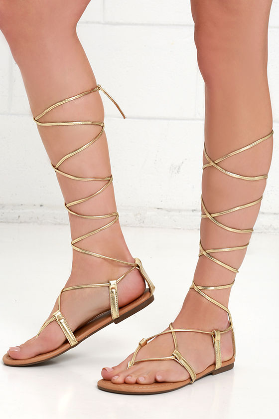 Cute Gold Sandals Leg Wrap Sandals Flat Sandals 17 00