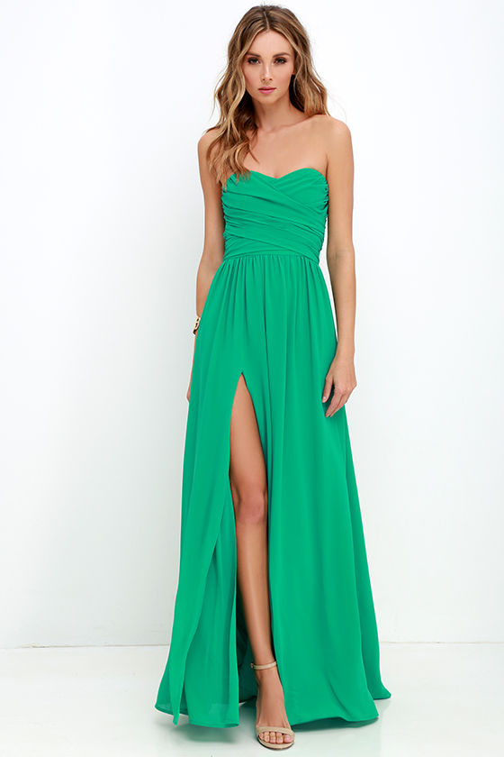 lovely green gown  strapless dress  maxi dress  8200