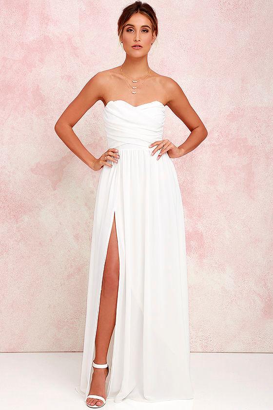 b2050dac7e Lovely Ivory Gown - Strapless Dress - Maxi Dress - $82.00