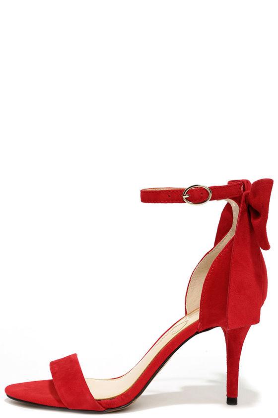 Pretty Red Heels - Suede Heels - Bow Heels -  95.00