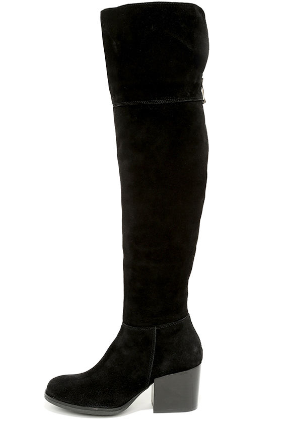 3aa313894ca Steve Madden Orabela Black Suede Leather Over the Knee Boots