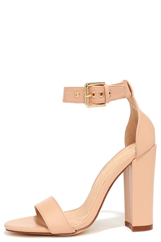 Cute Ankle Strap Heels - High Heel Sandals - Nude Heels - $34.00