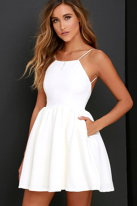 chic ivory skater dress backless homecoming dress 5600