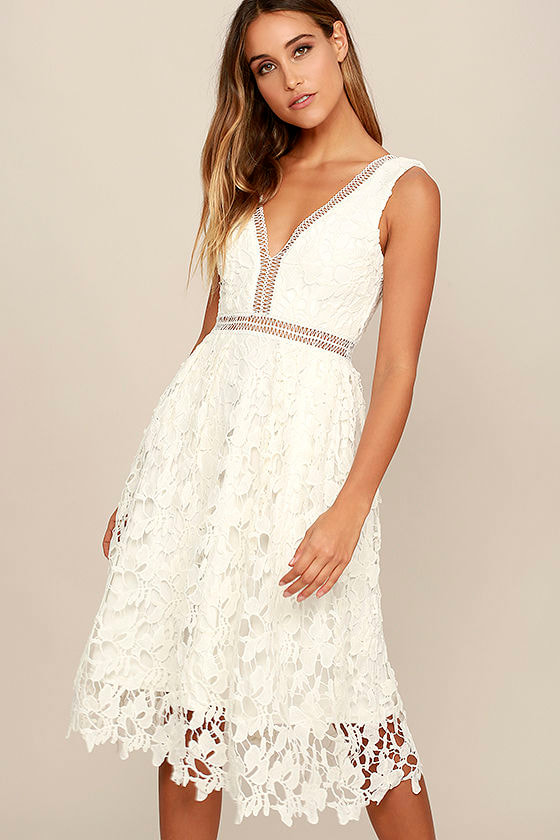 Beloved Bloom Ivory Lace Midi Dress 1
