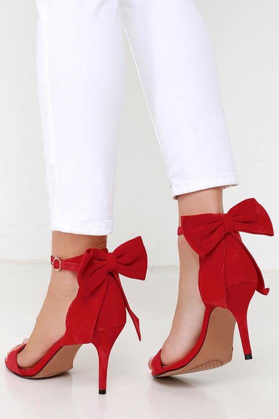 7f8d435dad5 Pretty Red Heels - Suede Heels - Bow Heels -  95.00