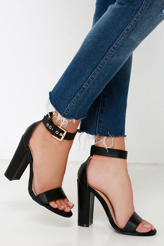 31bc1168249 Cute Ankle Strap Heels - High Heel Sandals - Black Heels -  34.00