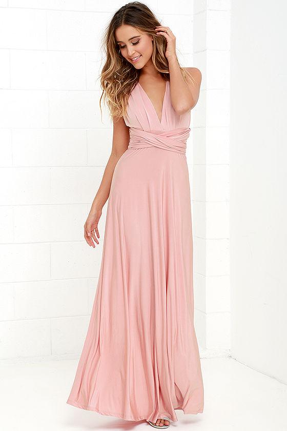Always Stunning Convertible Blush Pink Maxi Dress 2