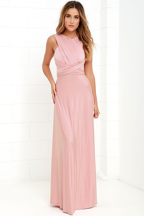 Pretty Maxi Dress - Convertible Dress - Blush Pink Dress ...