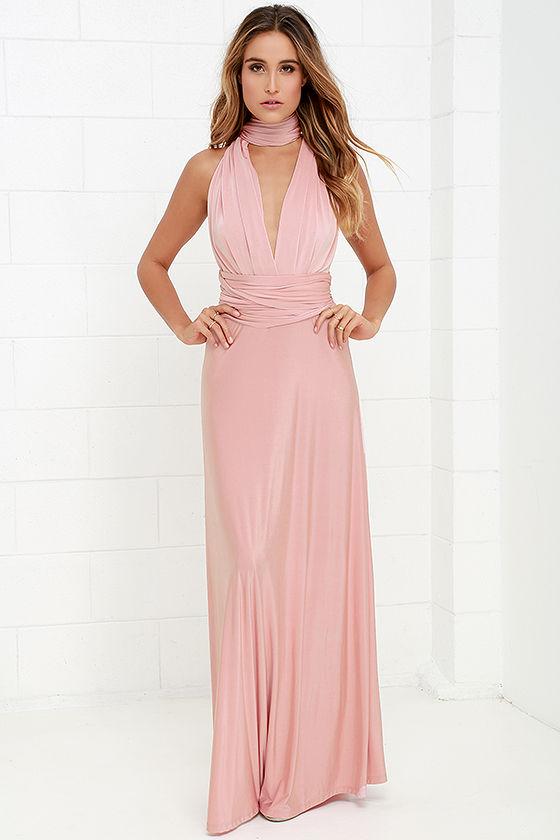 pretty maxi dress - convertible dress - blush pink dress