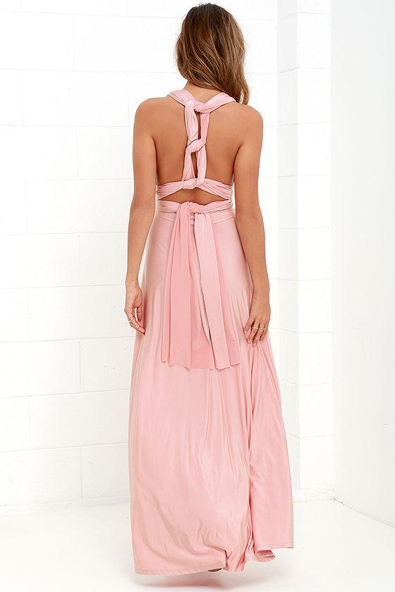 Always Stunning Convertible Blush Pink Maxi Dress 7