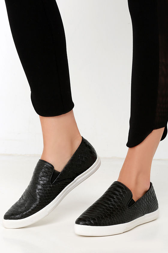 d28d1234728 Chic Black Sneakers - Pointed Toe Sneakers - Snakeskin Flats -  20.00