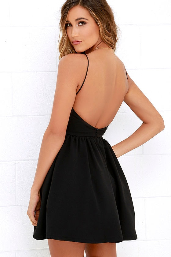 Chic Black Dress - Backless Dress - Skater Dress