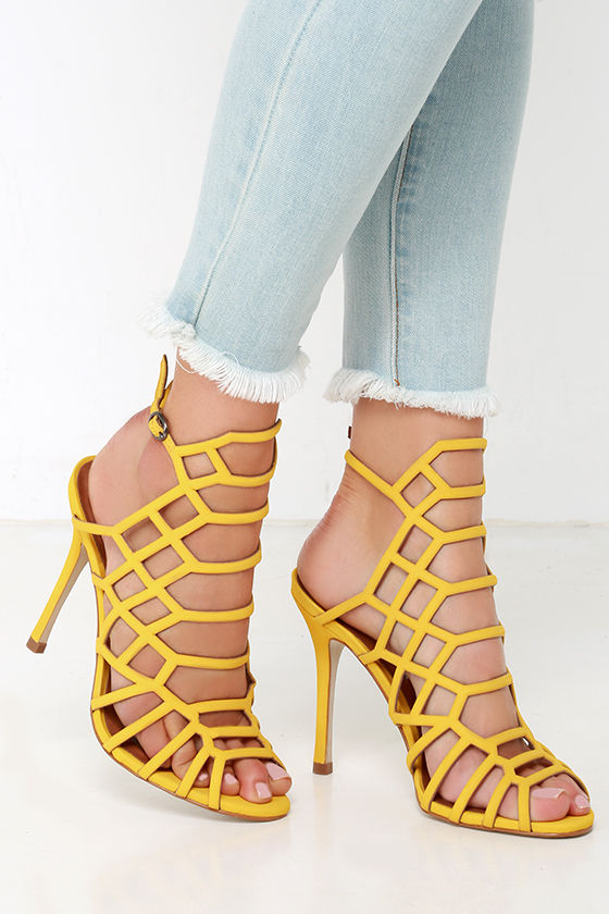 Steve Madden Slithur - Yellow Caged Heels - Leather Heels -  109.00