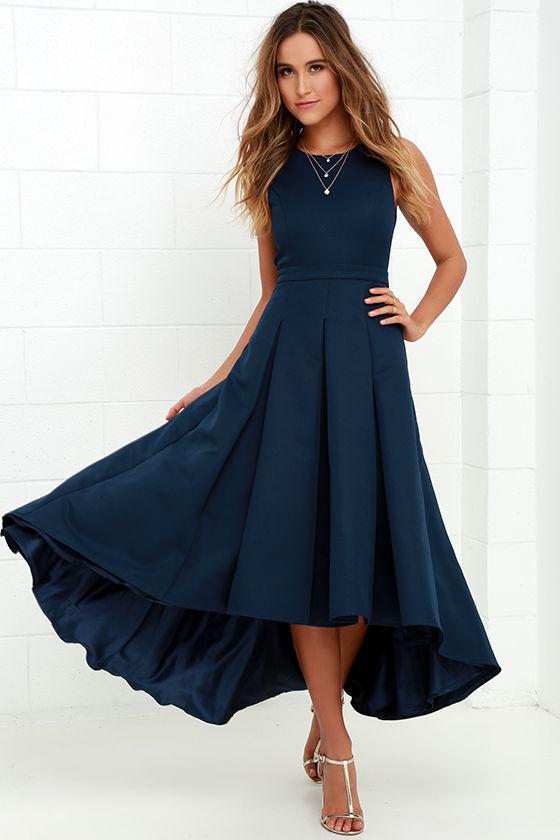 Lovely Navy Blue Dress - High-Low Dress - Formal Dress ... - photo #43
