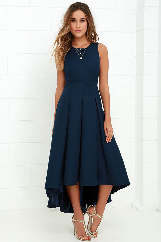 Lovely navy blue dress high low dress formal dress for What shoes to wear with navy dress for wedding