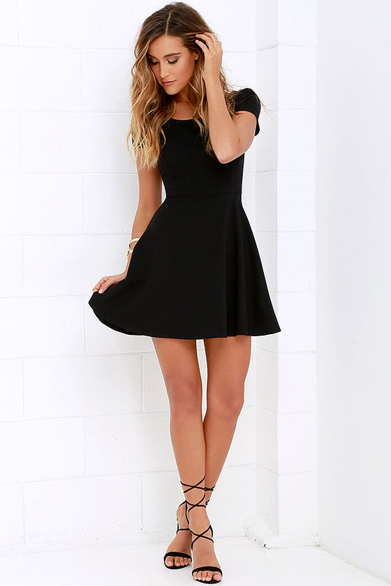 61c0f1d4de4 Cute Black Dress - Skater Dress - LBD - Fit-and-Flare Dress -  46.00