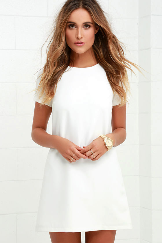 Chic Ivory Dress - Shift Dress - Short Sleeve Dress - $48.00