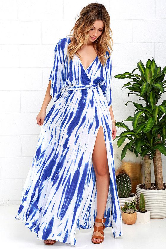 Lovely Blue Tie-Dye Dress - Wrap Dress - Maxi Dress - Kimono Dress - $ ...