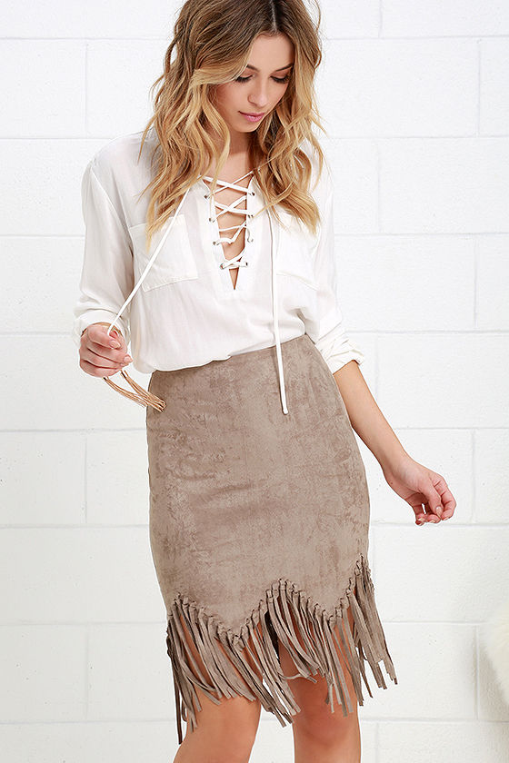 Fun Taupe Skirt - Suede Skirt - Fringe Skirt - High-Waisted Skirt ...