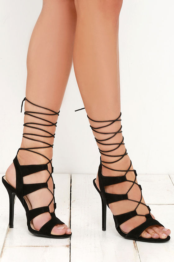 Sexy Black Heels - Lace-Up Heels - Caged Heels - $38.00