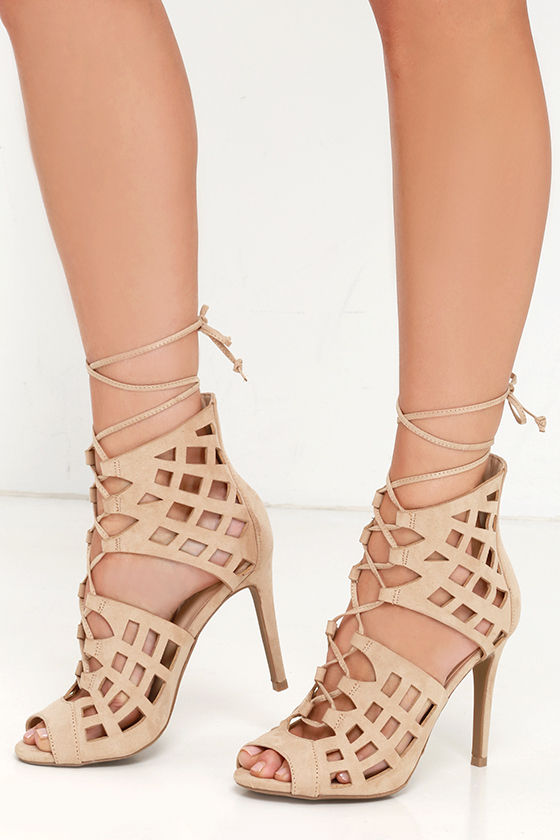 5d14a28c13f2 Sexy Nude Heels - Lace-Up Heels - Caged Heels - Dress Sandals -  30.00