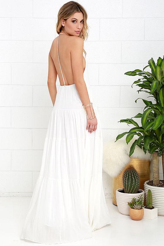 Coast is Clear Ivory Backless Maxi Dress