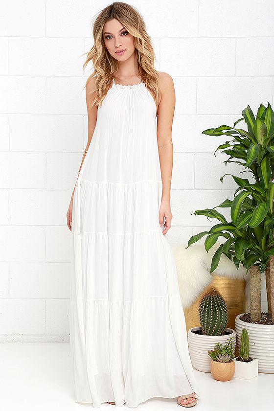 437b8b79fc552 Lovely Ivory Dress - Maxi Dress - Backless Maxi Dress - $74.00