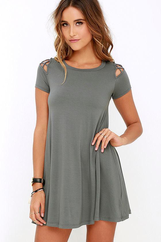 45a0e00c0ce5 Cute Grey Dress - Swing Dress - Cutout Dress -  42.00