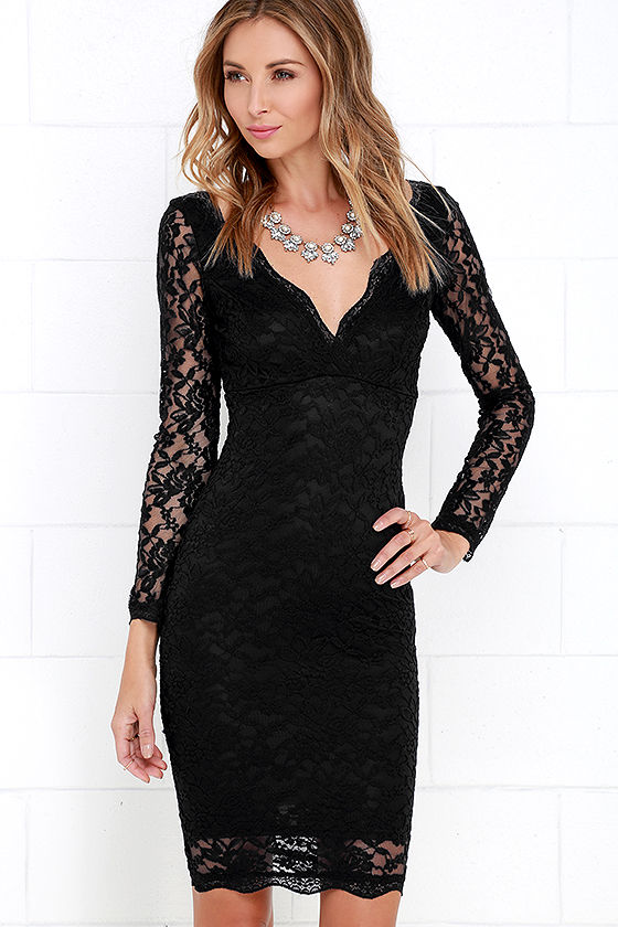Lace Dress - Black Dress - Long Sleeve Dress - Bodycon Dress - $49.00