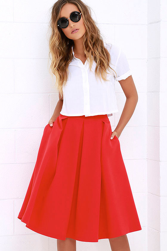 Pleats, Oh Please Red Midi Skirt at Lulus.com!