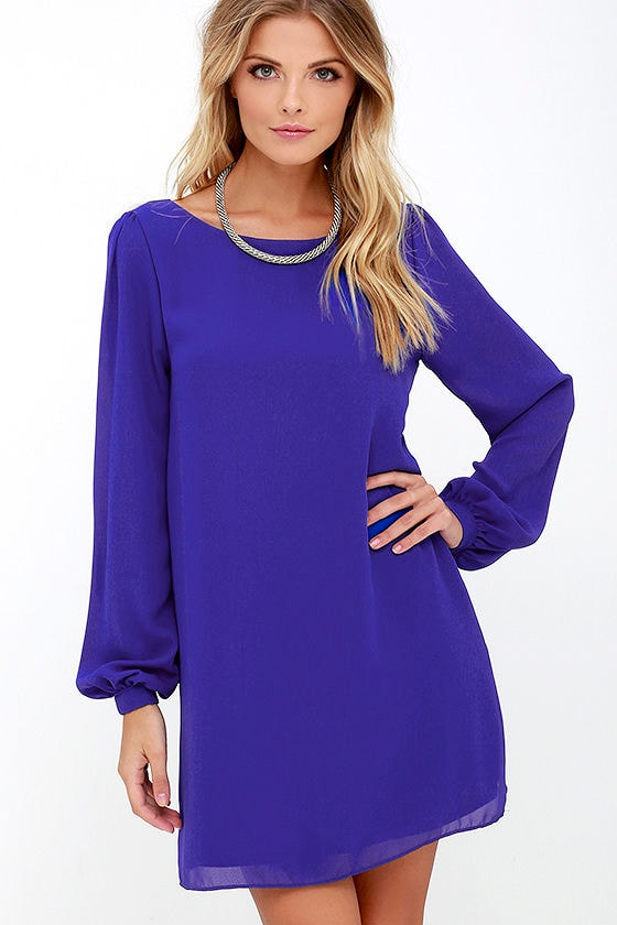 Pretty Royal Blue Dress - Shift Dress - Long Sleeve Dress - $42.00