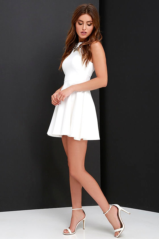 Cute Ivory Dress - Skater Dress - Funnel Neck Dress -  49.00 53475292f