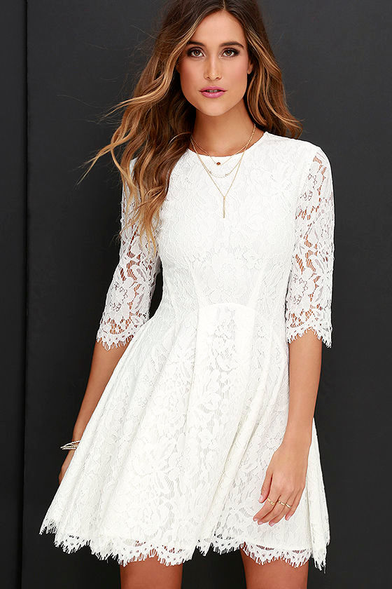 38cf6f812d Darling Ivory Dress - Lace Dress - Skater Dress - $78.00